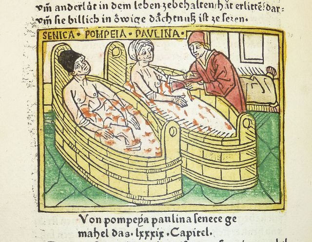 Woodcut illustration of the suicide of Seneca and the attempted suicide of his wife Pompeia Paulina