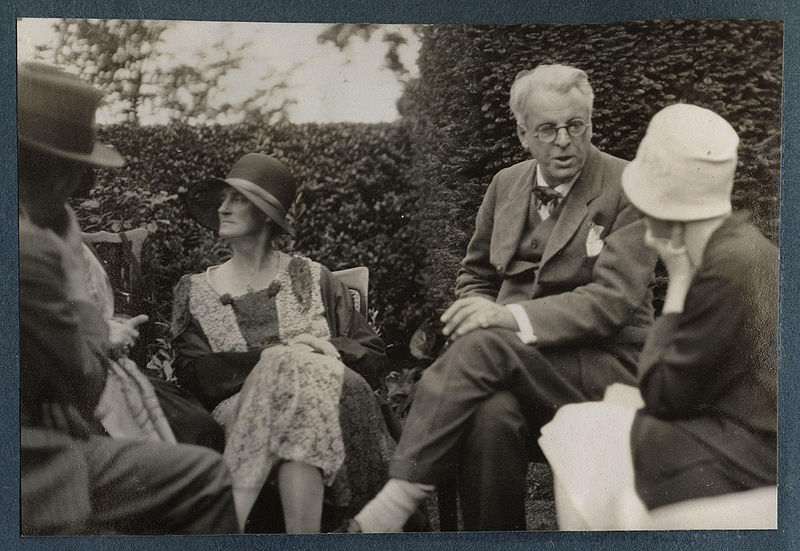 Walter de la Mare, Bertha Georgie Yeats (née Hyde-Lees), William Butler Yeats, unknown woman by Lady Ottoline Morrell