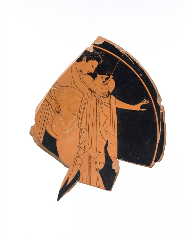 Fragment of a Terracotta Kylix (drinking cup) Greek, Attic, red-figure, ca. 510-500 BC Attributed to the Kiss Painter