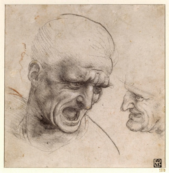 Studies for the Heads of Two Soldiers in the Battle of Anghiari (1504-05) by Leonardo da Vinci.