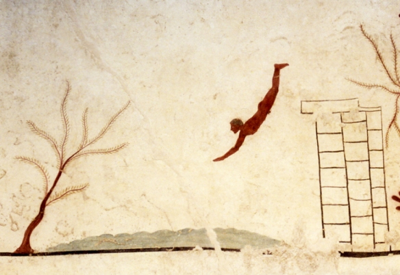 Detail from a fresco in the 'Tomb of the Diver', c. 470 BC, at Paestum in what is now Italy.